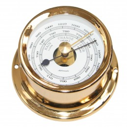 72 MM BRASS BAROMETER. GOLD PLATED