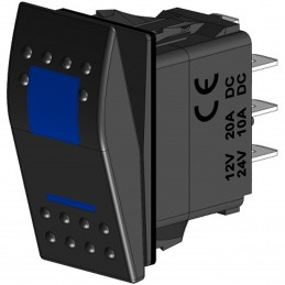 WŁĄCZNIK ROCKER 7 PIN ON-OFF, DPDT, 2LED BLUE, SF-A6 COVER, DC12V/20A, DC24V/10A, AC125V/16A, AC250V/10A