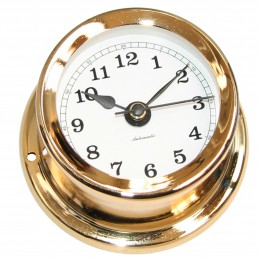 72 MM BRASS QUARTZ CLOCK. GOLD PLATED