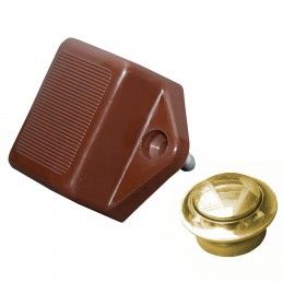 * ZAMEK SMALL BROWN KNOB BRASS H16